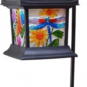Solar Powered Hanging Floral Stained Glass LED Lantern